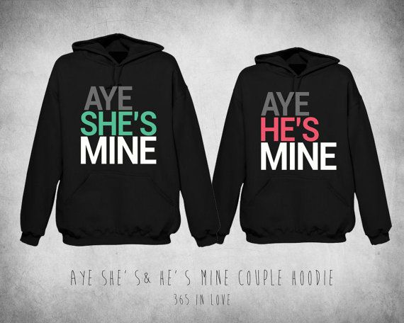 796f5322f4 Cute Matching Aye She's Mine & Aye He's Mine Couple Hoodie on Etsy, $67.99