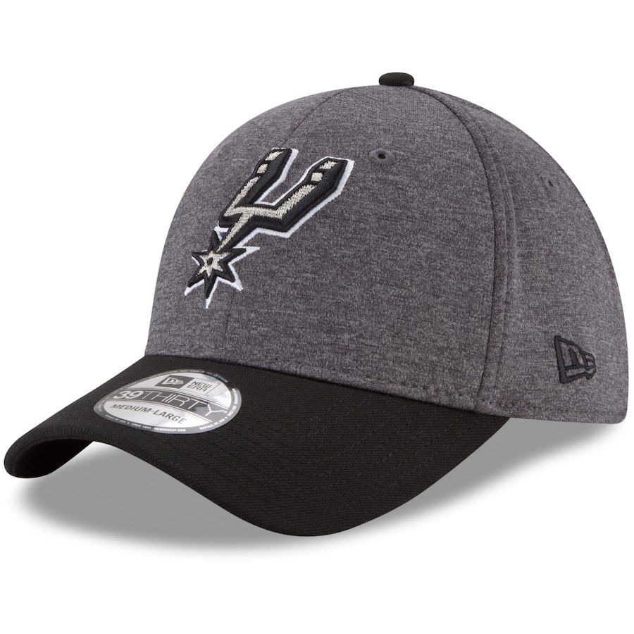 5f6e4ed82bd San Antonio Spurs New Era 39THIRTY Flex Hat - Heathered Gray Black ...