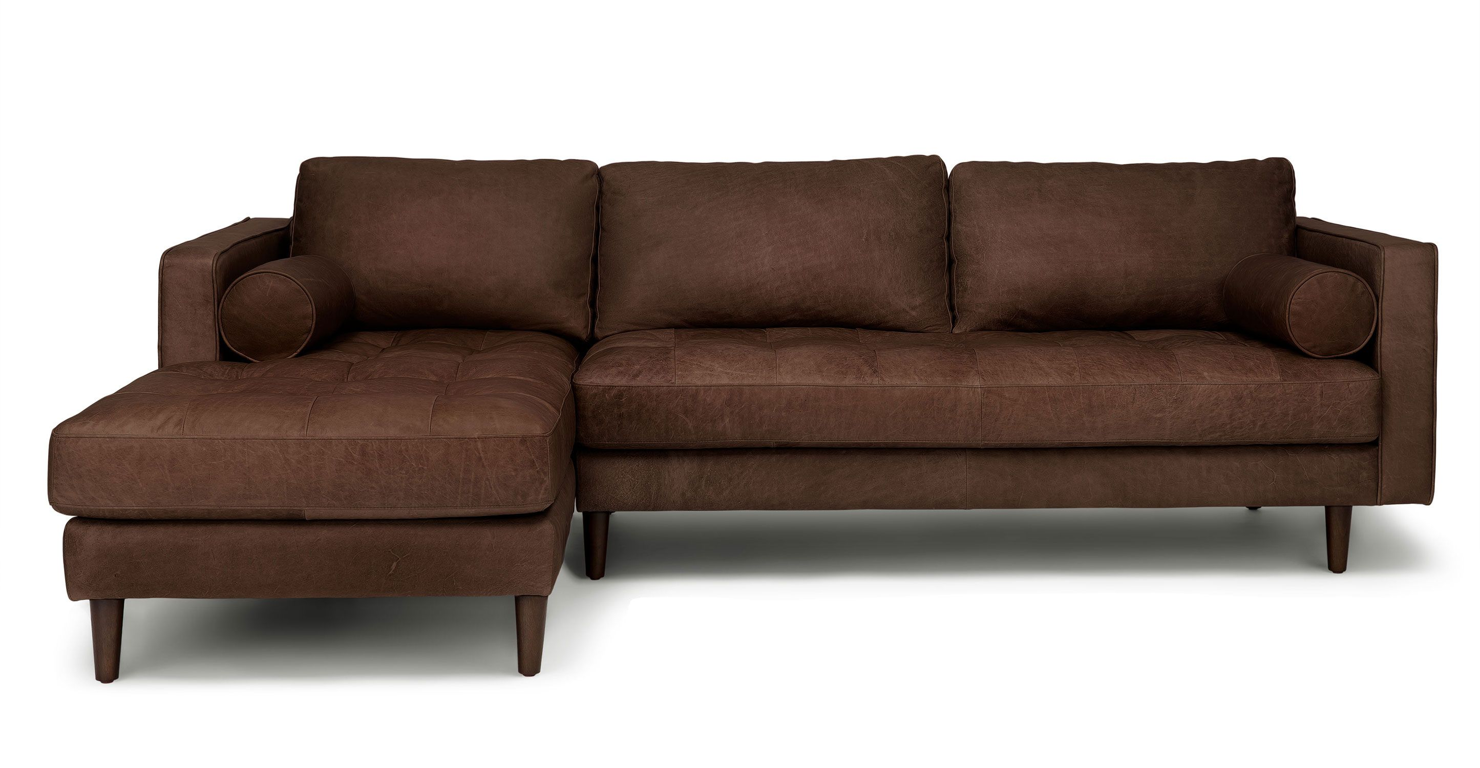 Sven Charme Chocolat Left Sectional Sofa With Images Mid Century Modern Sectional Sofa Sectional Sofa Best Leather Sofa
