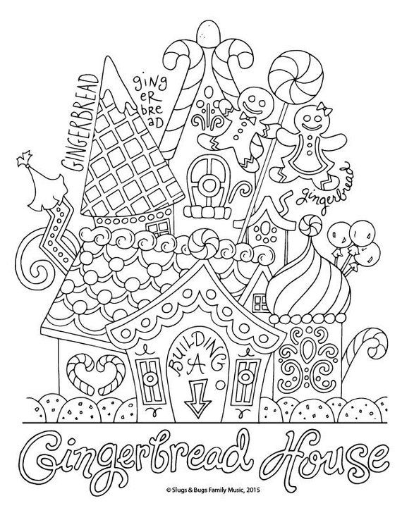 Gingerbread House Christmas Coloring Page Kids Holiday Etsy Christmas Coloring Sheets Coloring Pages House Colouring Pages