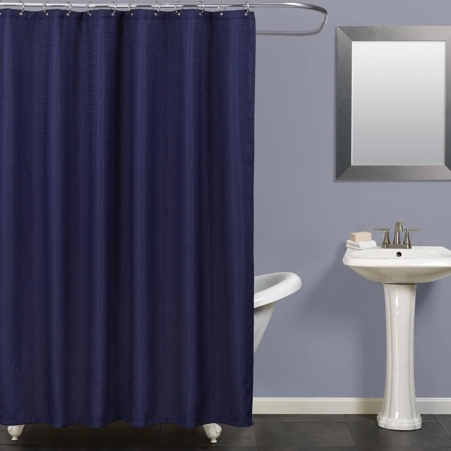 Zenna Home Polyester Navy Solid Shower Curtain H21nvl In 2020