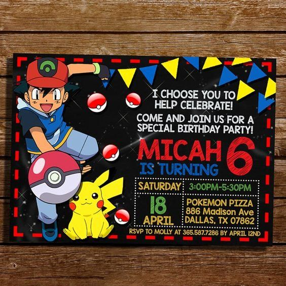 35 pokemon birthday invitations template  pokemon