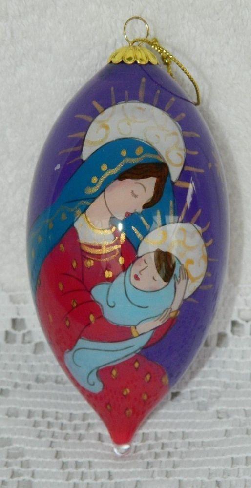 Virgin Mary and Jesus Li Bien Hand Painted Teardrop 2013 Ornament