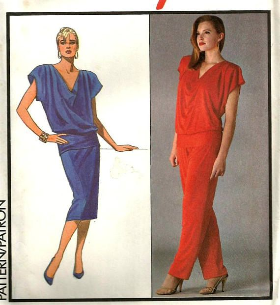 Vintage 80s Style 1073 UNCUT Misses Oversized Top, Straight Skirt ...