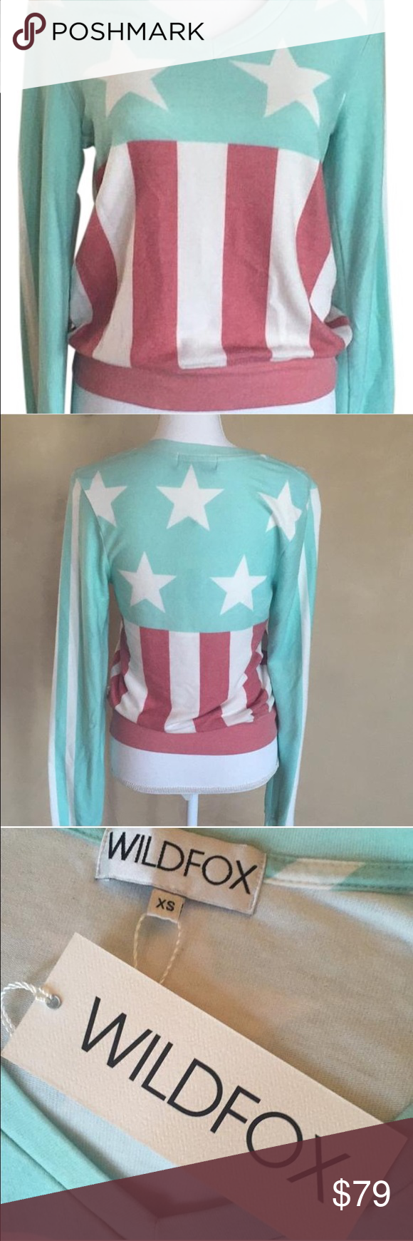 patriotic wildfox sweatshirt just in time for 4th with this super soft red, white, and red wilfox sweatshirt  Wildfox Sweaters V-Necks