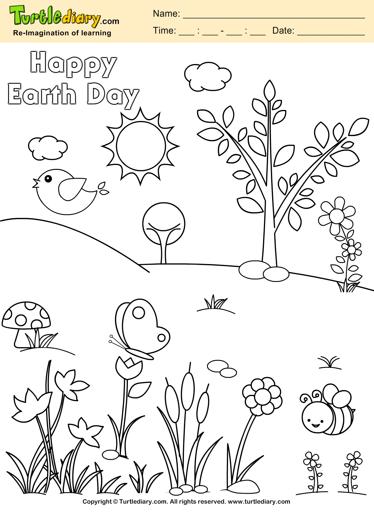 Happy Earth Day Planet Earth Coloring Page Kids Crafts