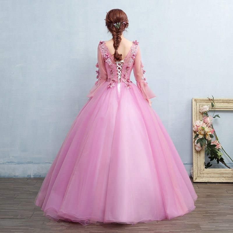 Rosa claro flare dress princesa renascimento medieval vestido de ...