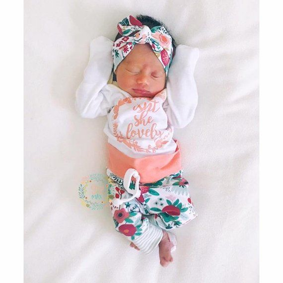 82c48d80d0238 Newborn Baby girl coming home outfit Coral Isn't she Lovely, Coral Floral  theme hello world baby gir