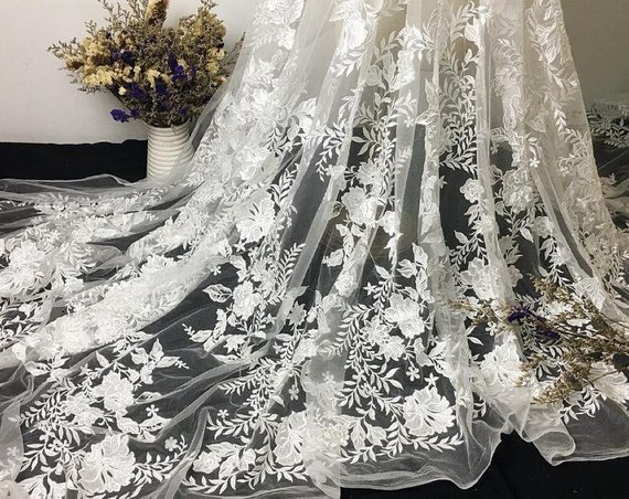 Multi-colored Gauze Luxurious Floral Embroidered Lace Fabric for Dress,Prom Dress Lace,Wedding Bridal Dress Lace,Kid Dress Lace Fabric
