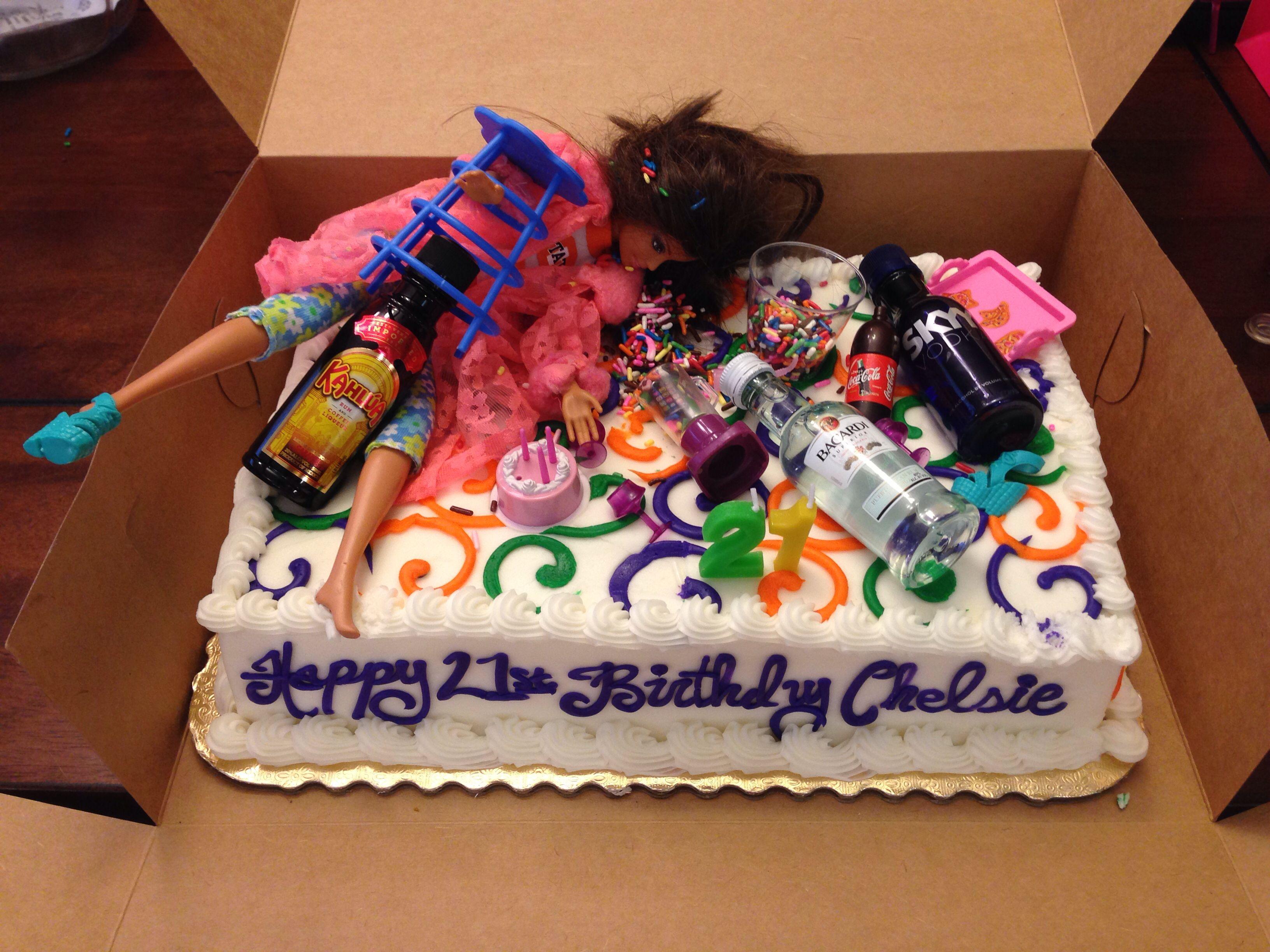 Drunk Barbie S 21st Birthday Cake My Version For My