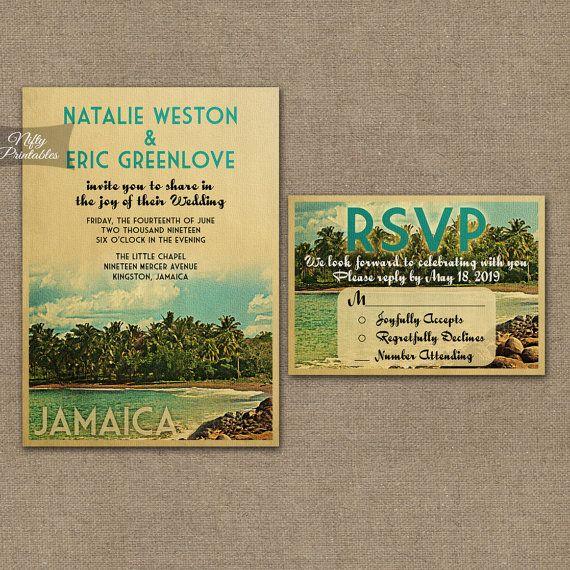 jamaica wedding invitation printable vintage jamaica island