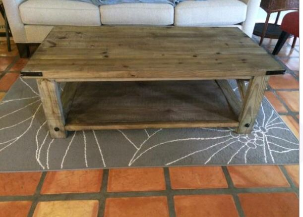 rustic custom wood coffee table with added hardware lag bolts and