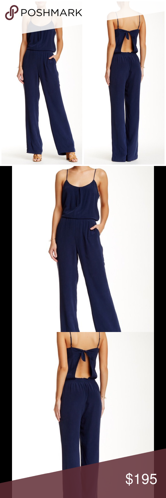 b7a2c3abd91 HP Joie Lundy silk jumpsuit dark navy An inverted pleat at the bust and a  knot at the open back provide just the right touches to take a solid crepe  ...