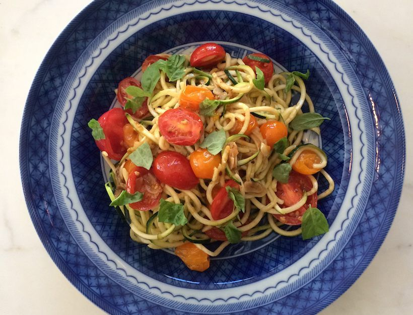 It's now well-documented that we love a spiralizer. This newest recipe in our arsenal takes all of 5 minutes. While it's super-light, it can easily be made more hearty with a grilled chicken breast or piece of fish.
