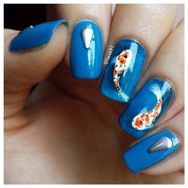 Koi Pond Nail Art! | nails & makeup | Pinterest | Koi ponds, Koi and ...
