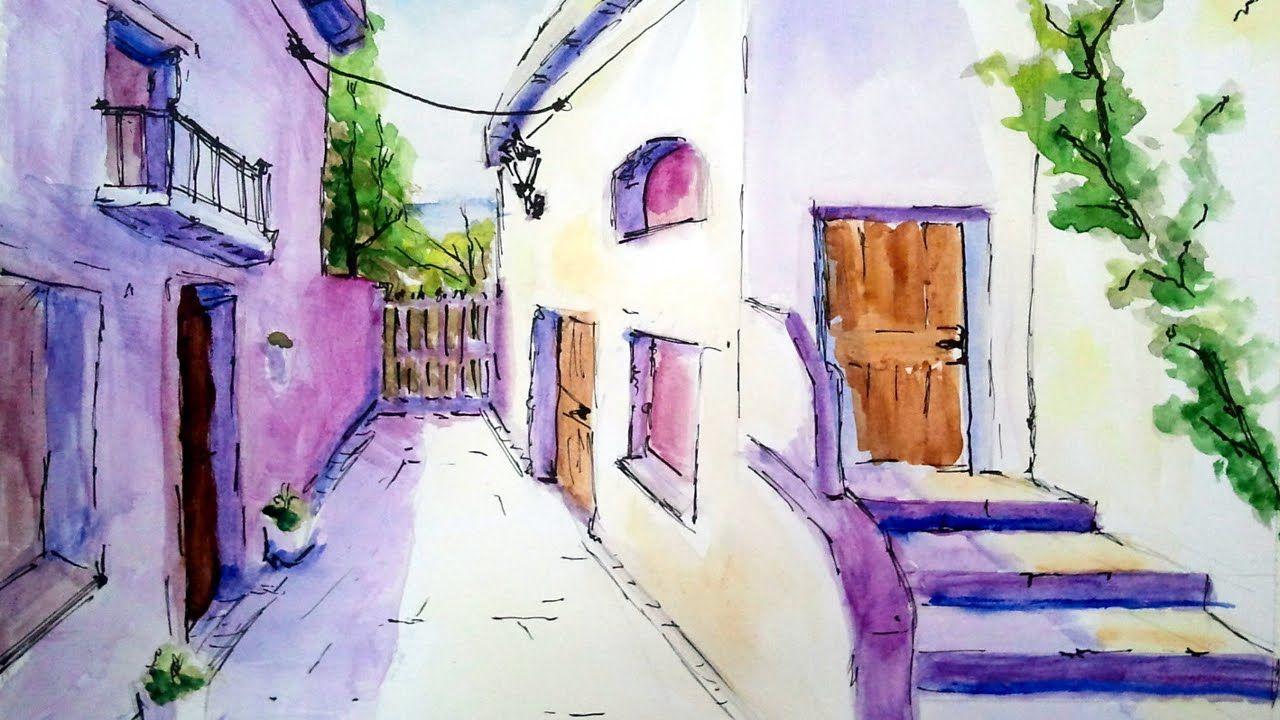 Como Pintar Con Acuarela Una Calle De Pueblo Acuarela Para