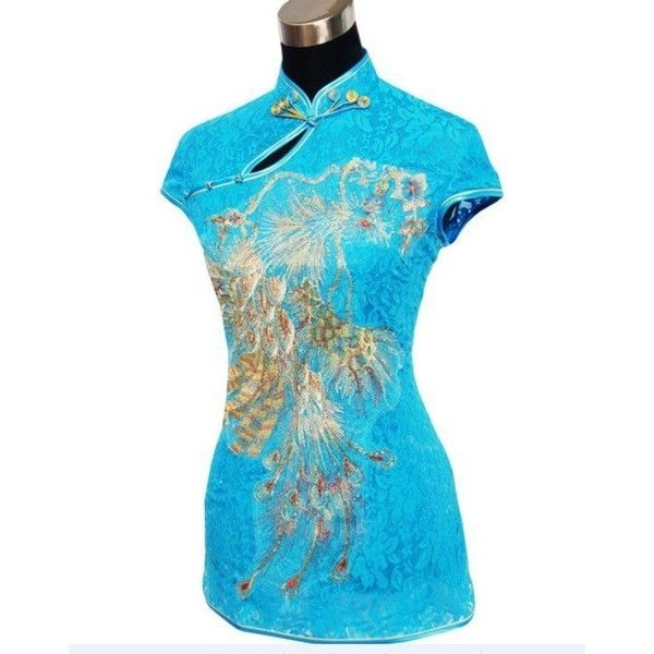 RED Sexy Fashion Chinese tradition Lace embroidery Womens blouse shirt... ❤ liked on Polyvore featuring tops, blouses, red lace top, blue shirt, sexy red shirt, red blouse and blue lace shirt