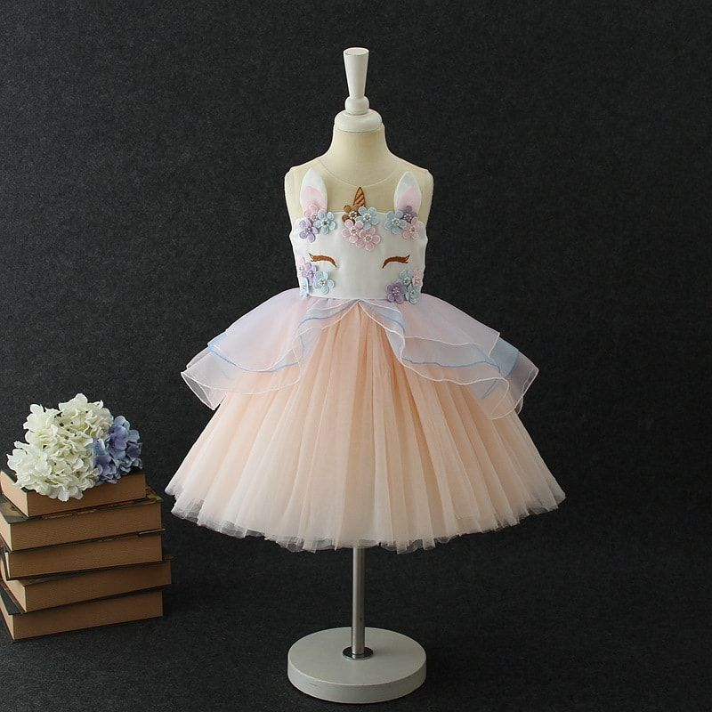 8f362089f68aa Kids Tulle Dress for Girls Embroidery Ball Gown Baby Flower Girl ...