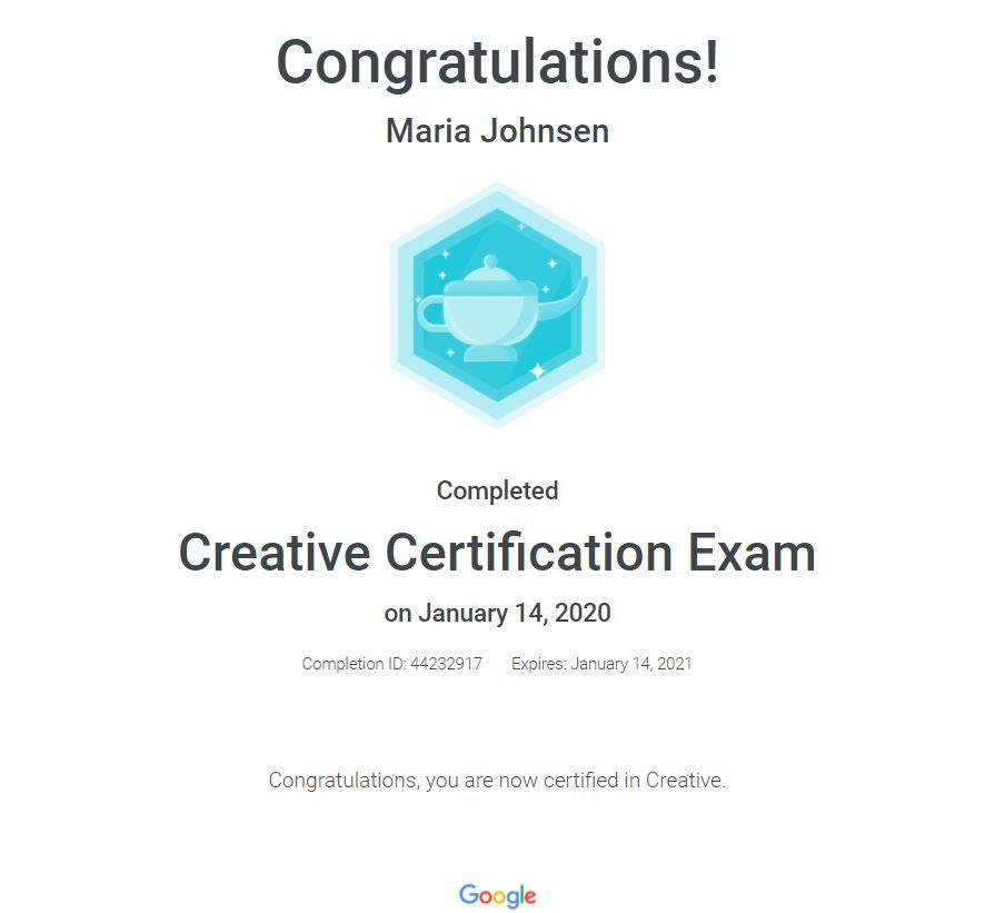 Creative Certification Exam