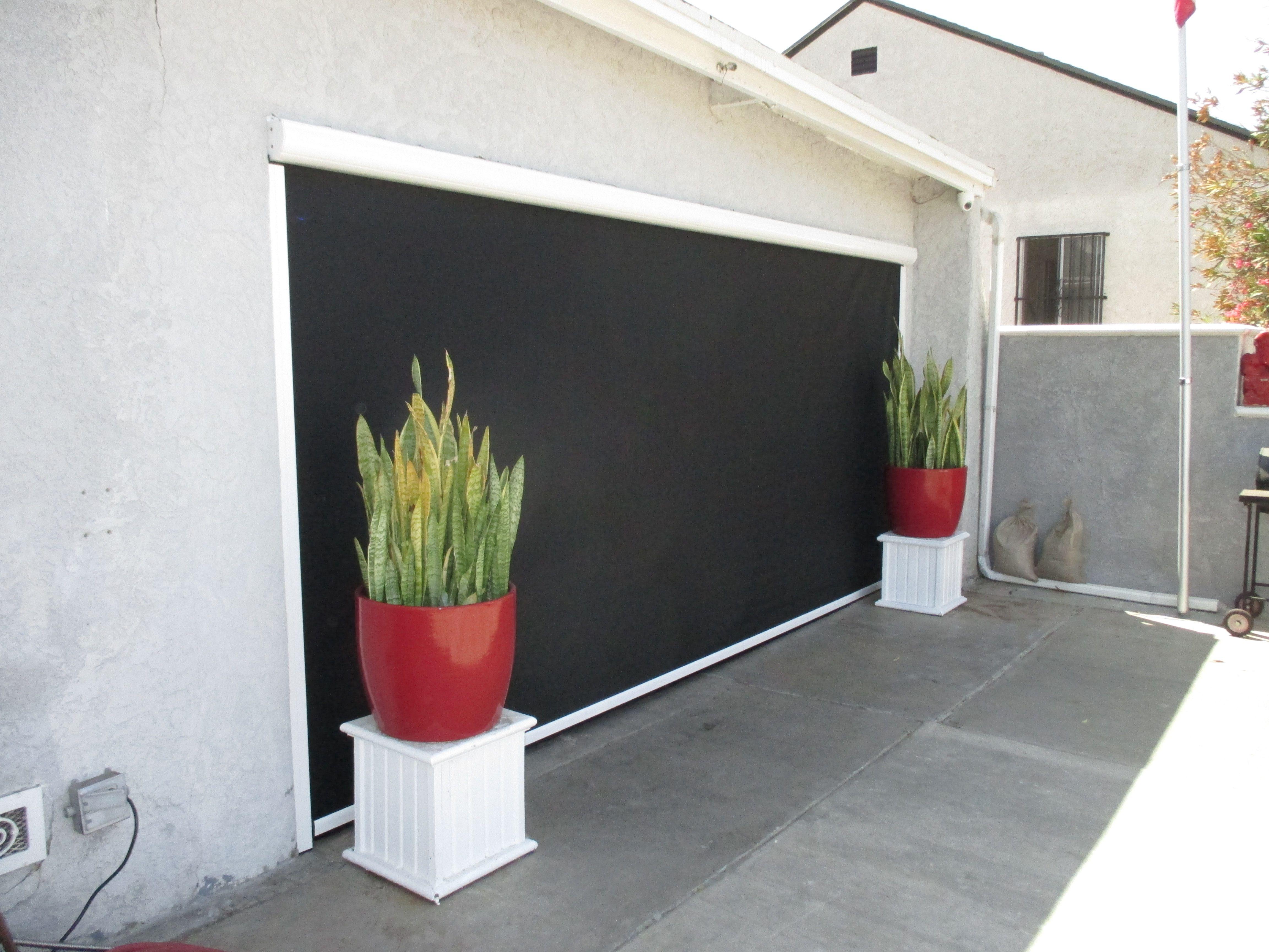 Costa Mesa, CA Motorized Power Screen w/ Black Solar