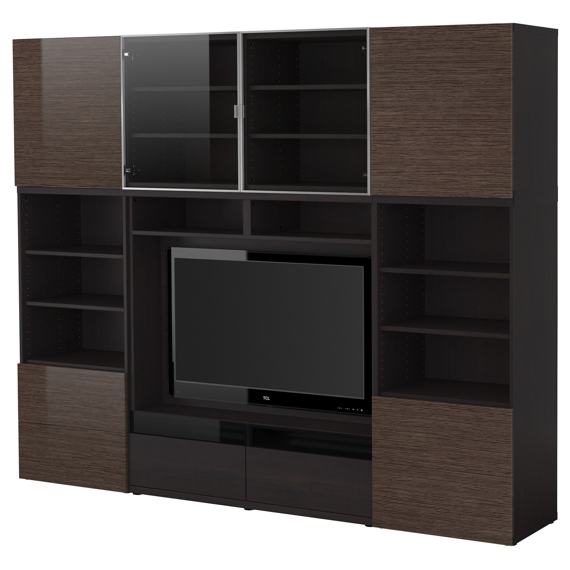bestÅ tv storage combination black brown bamboo pattern high gloss