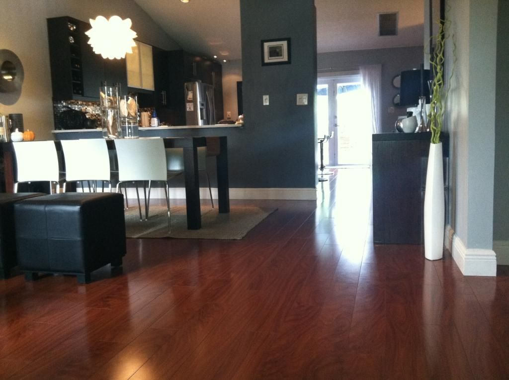 Dark Walls African Mahogany Laminate In A Customer Home I Love This Modern