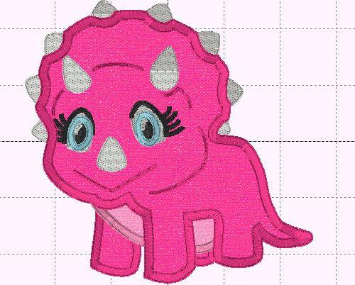 Girl Dinosaur Applique Design  INSTANT DOWNLOAD  Embroidery
