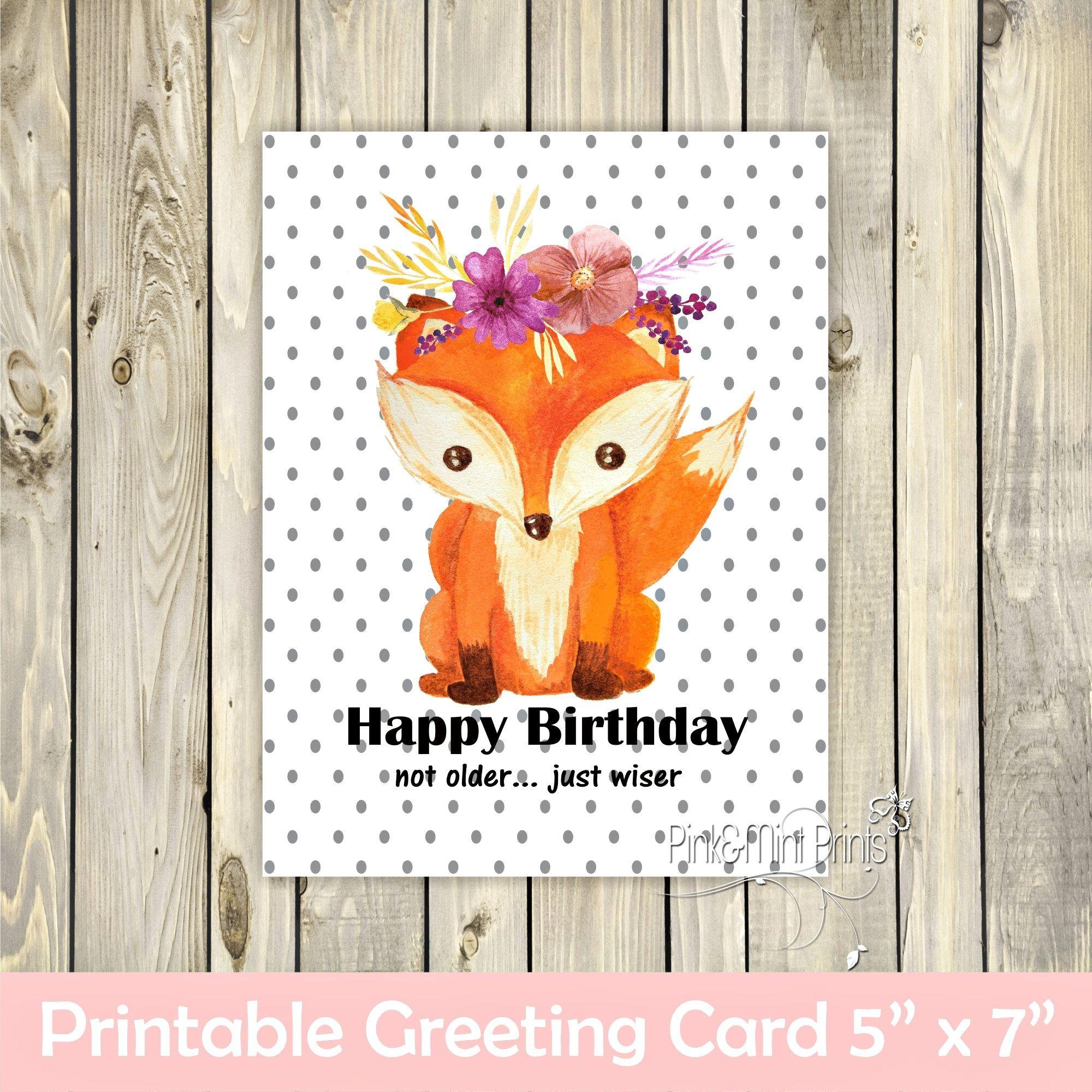 Fox Birthday Printable Card Printable Birthday Card Funny Birthday