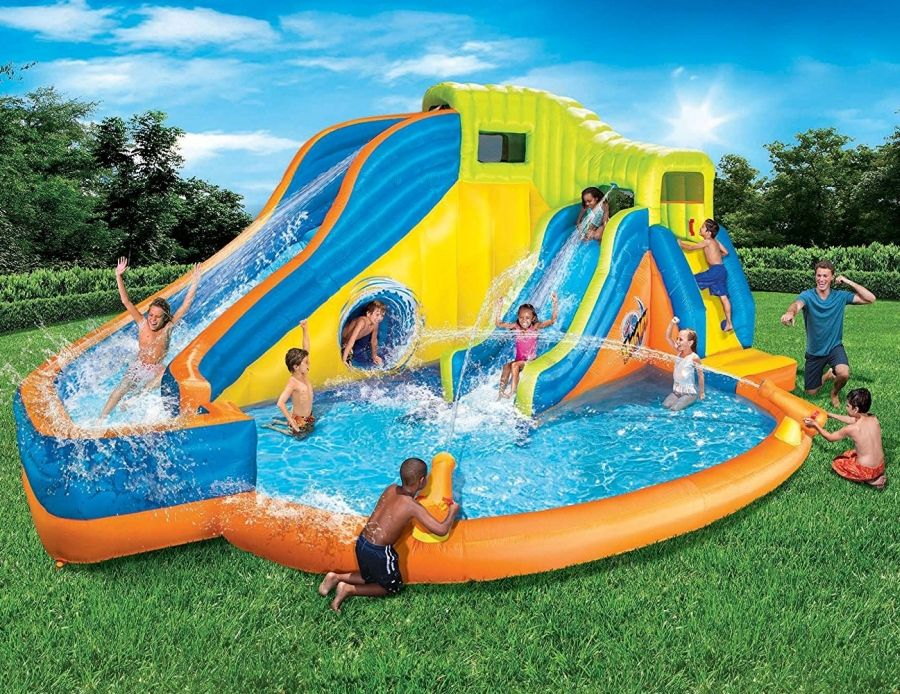 Banzai Pipeline Twist Kids Inflatable Outdoor Water Park Pool Slides Cannons Inflatable Water Park Kids Water Slide Backyard Water Parks