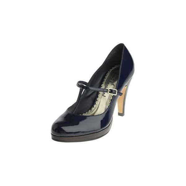 Navy patent t-bar court shoes - High