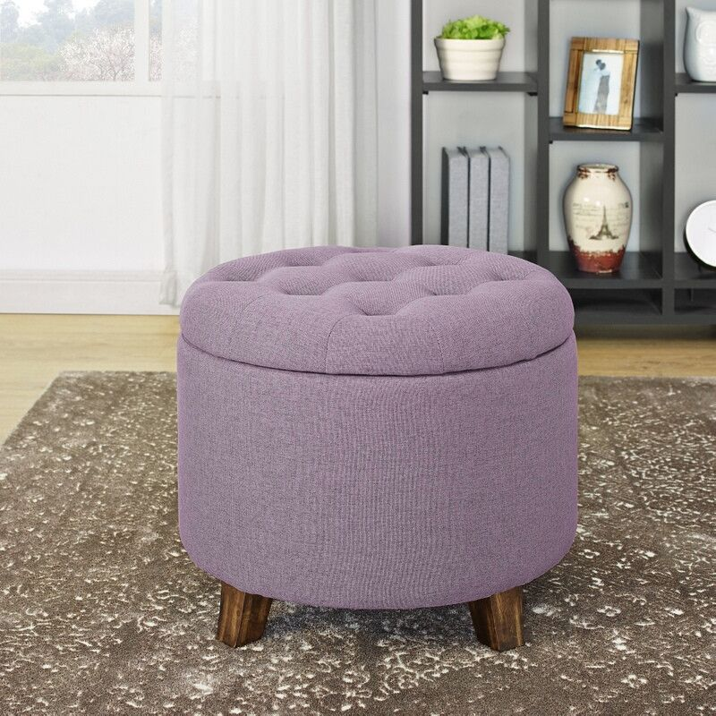 Marvelous D7954 Belize Plum Linen Like Fabric Round Tufted Top Storage Theyellowbook Wood Chair Design Ideas Theyellowbookinfo