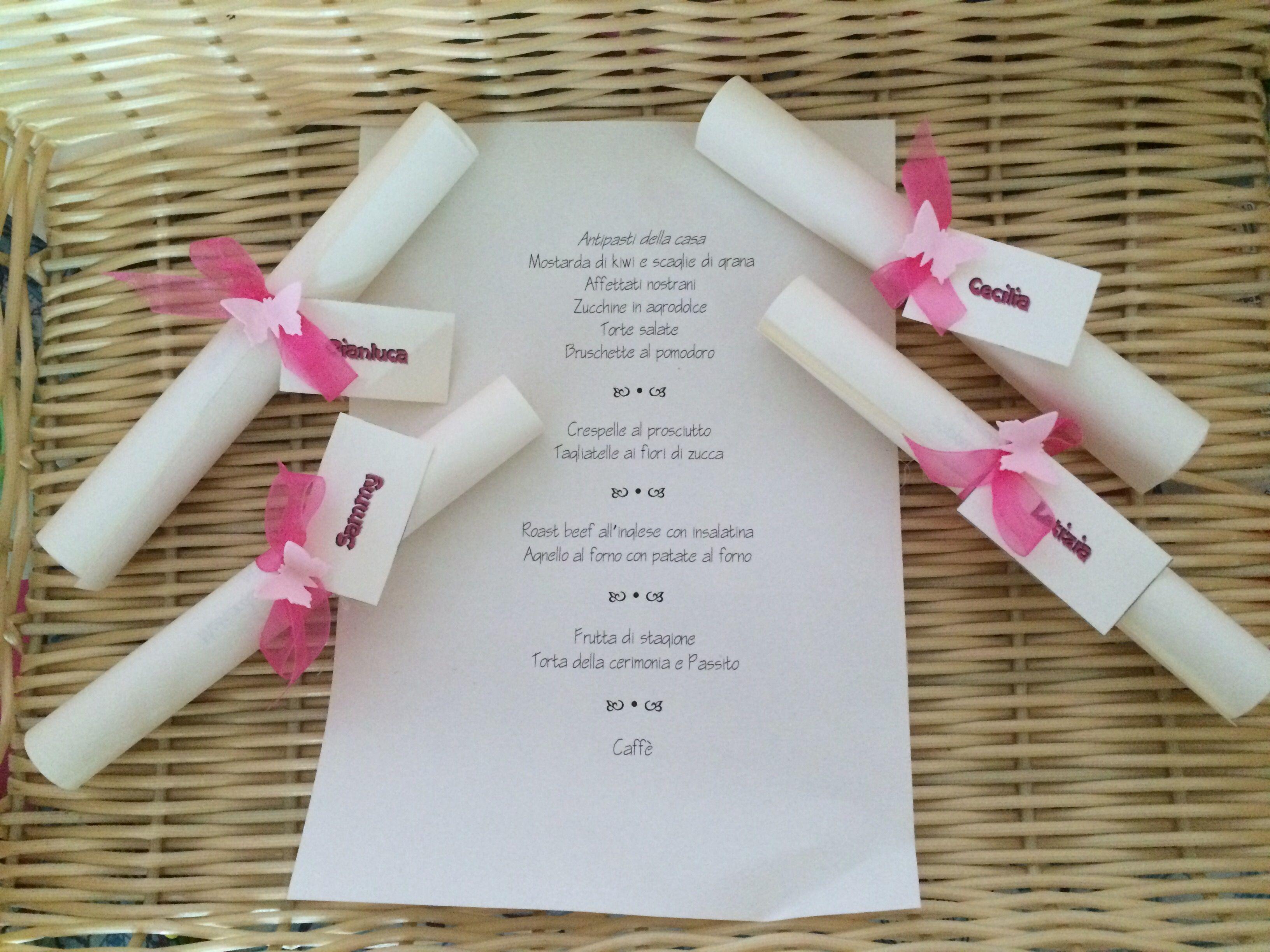 Pergamena Segnaposto Matrimonio.Pergamene Menu E Segnaposto Battesimo Farfalle Isabelle