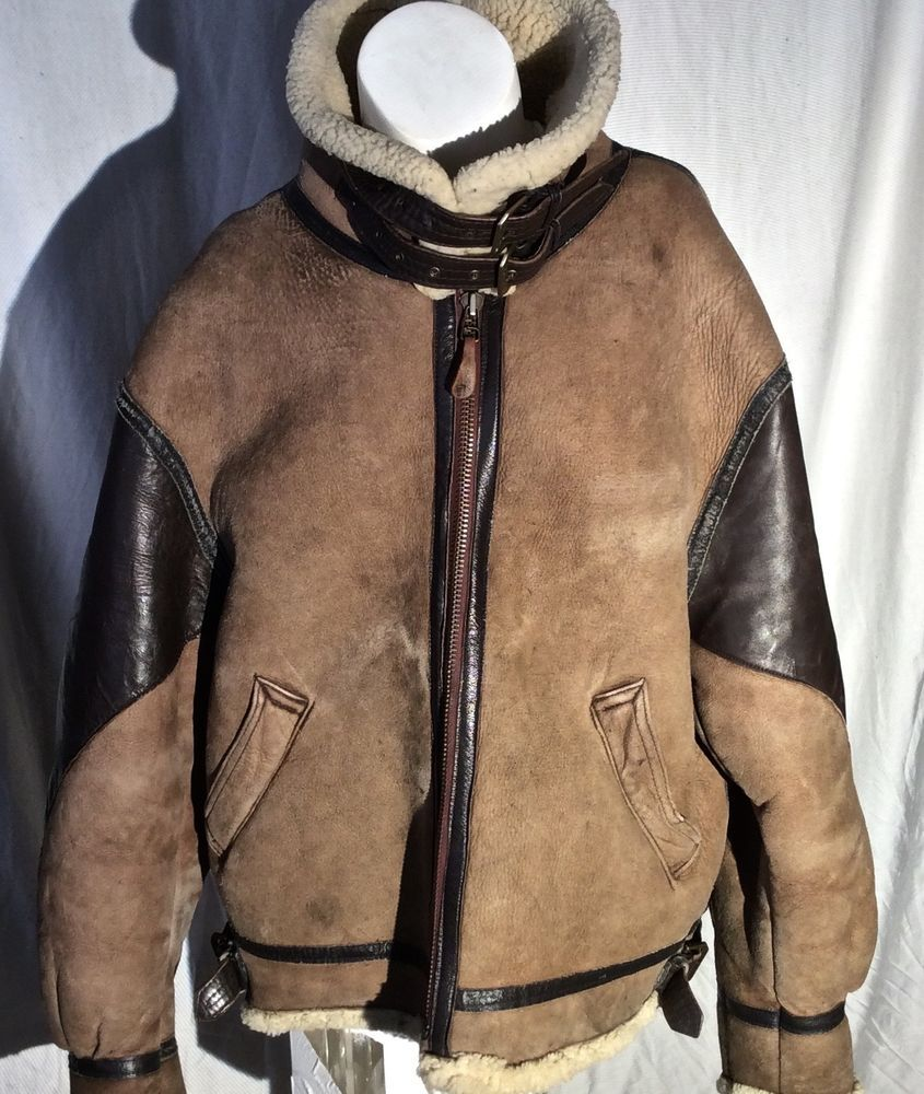 Vtg AVIREX LTD Shearling Sheepskin B-3 Flight Av Bomber Leather Jacket SIZE 46 #Avirex #FlightBomber