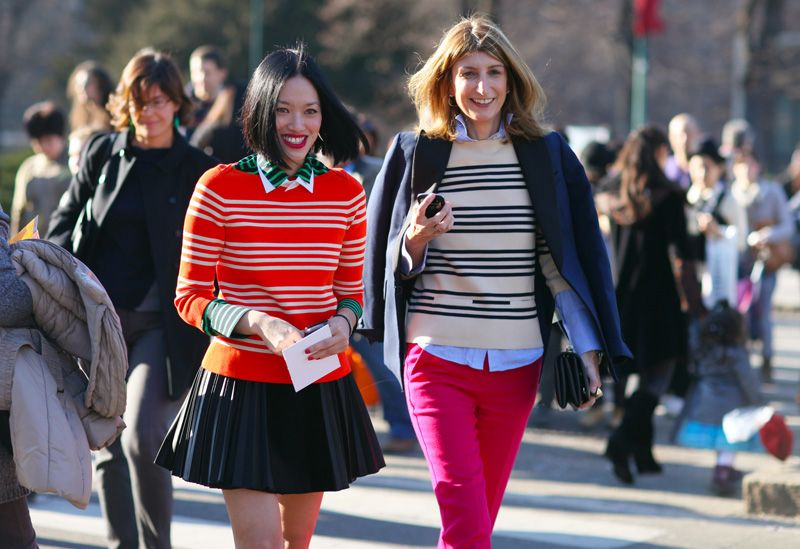 stripes, blazers, and colored pants