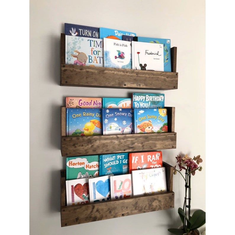 Kids Room Wall Hanging Book Shelves Nursery Book Shelves Set Etsy In 2020 Nursery Bookshelf Rustic Wood Walls Nursery Book