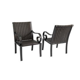 Delightful Allen Roth Set Of 2 Pardini Oil Rubbed Bronze Woven Seat Aluminum Patio  Dining Chair