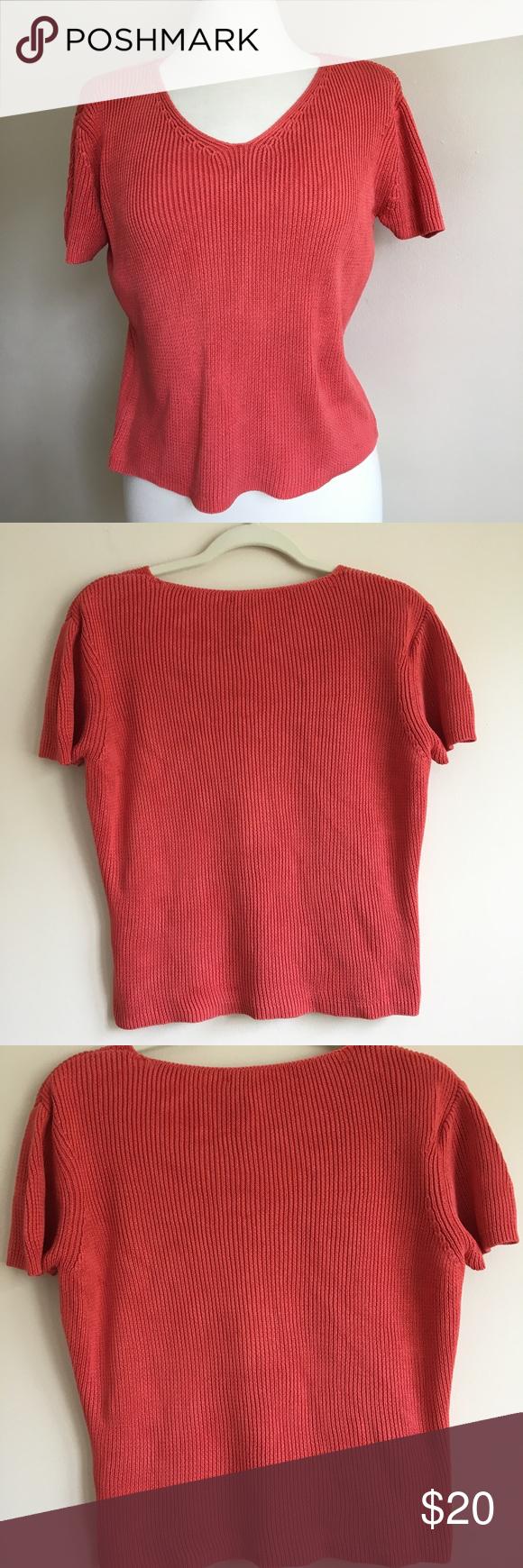 Ann Taylor Silk Coral Knit Short Sleeve Sweater | Knit shorts ...