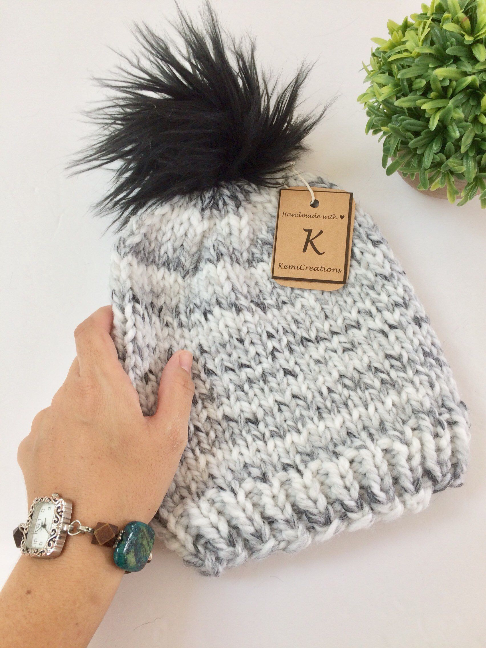 270ba90ed73 Excited to share this item from my  etsy shop  Chunky knit adult hat with faux  fur pompom