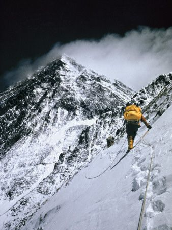 Climbers, 25,000 Feet Up, Push on Toward the Summit of Mount Everest  Barry Bishop