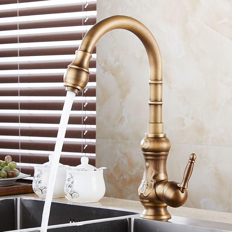Sale Kitchen Faucets Antique Brass Bronze Finish Water Taps Kitchen