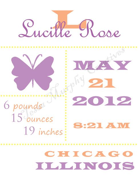 Custom PICTURE BLOCK birth announcement print.  Fully personalized with baby's birth information.