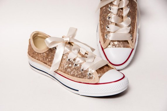 71a80e647dc2 Sequin - Full Champagne Gold Converse Canvas Low Top Sneakers Tennis Shoes  with Satin Ribbon Laces