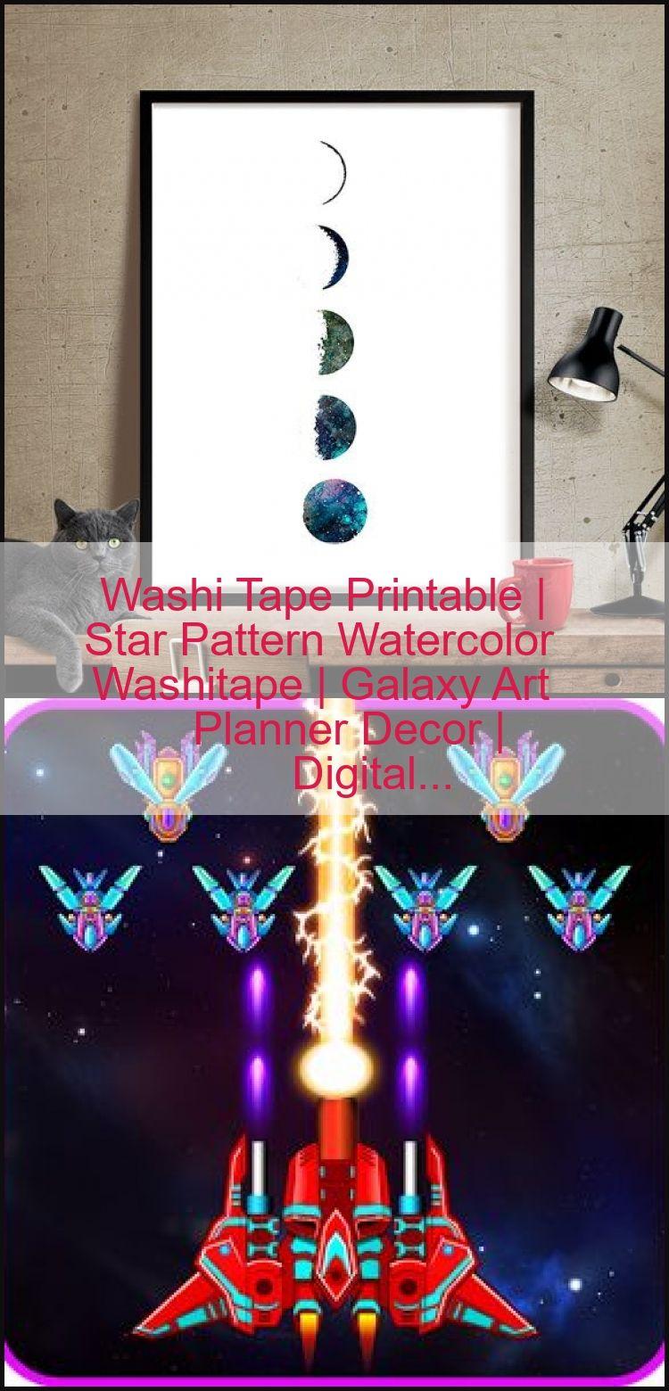 Washi Tape Printable  Star Pattern Watercolor Washitape  Galaxy Art Planner Decor  Digital