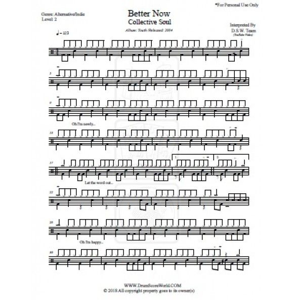 Drum Score - Collective Soul - Better Now | www