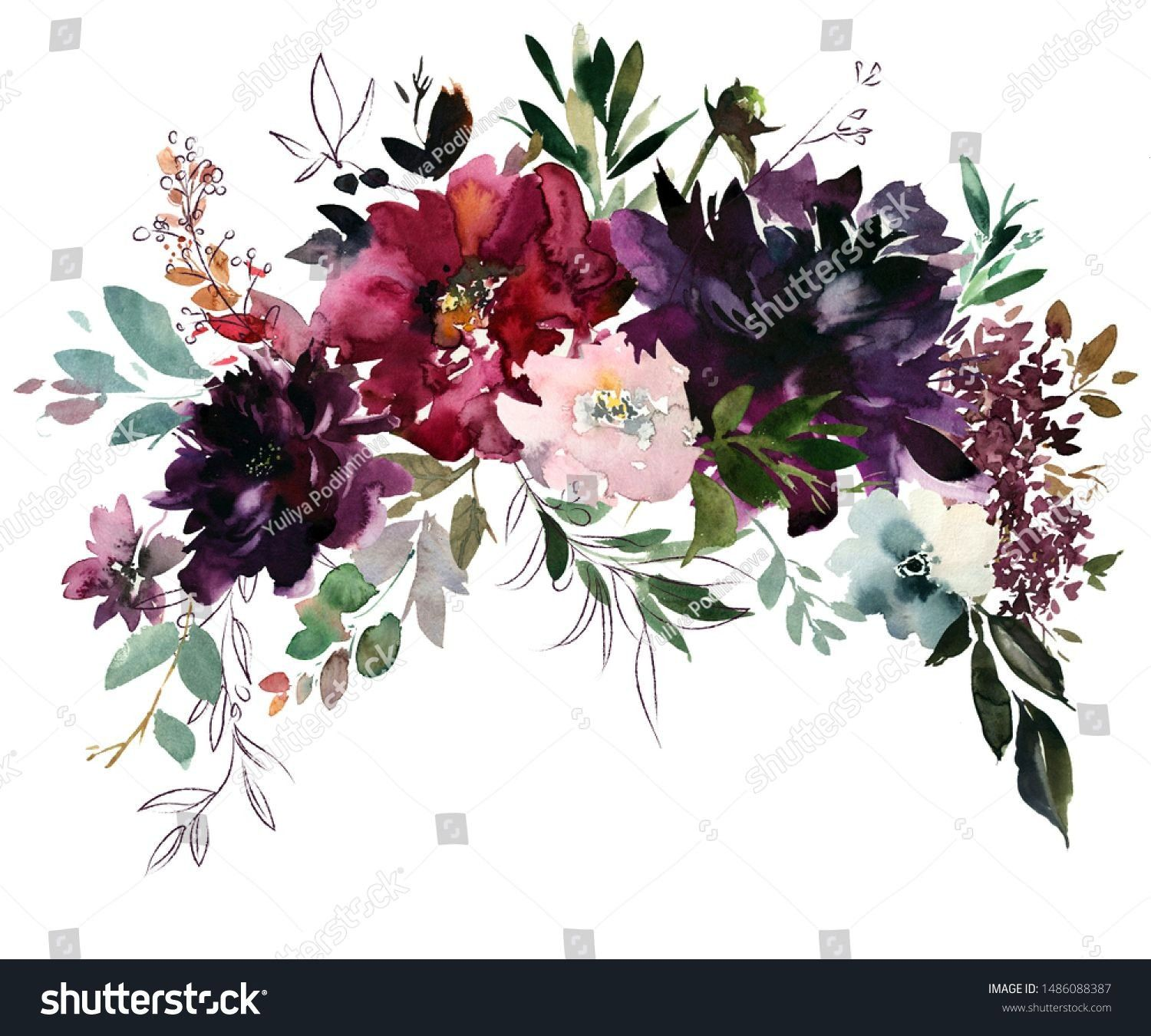 Plum Maroon Burgundy Peony Rose Watercolor Floral Arrangement Isolated on White Background Purple Plum Maroon Burgundy Peony Rose Watercolor Floral Arrangement Isolated o...