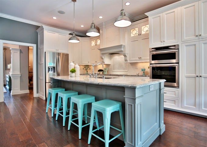 awesome turquoise kitchen cabinets dining | Set The Stage | House of turquoise, Turquoise bar stools ...