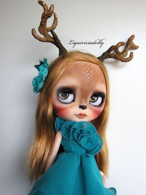 Blythe ooak custom art doll deer fawn Noir   by by liquiriziadolly