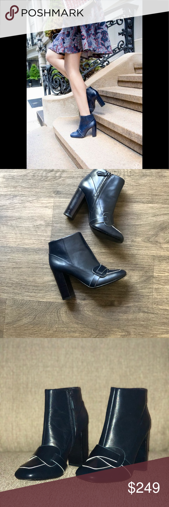 ad463a893  SUPER CUTE  Tory Burch Navy Blue Bond Booties SOLD OUT EVERYWHERE Tory  Burch Navy Blue Bond Booties! Blue leather Squared toe 4