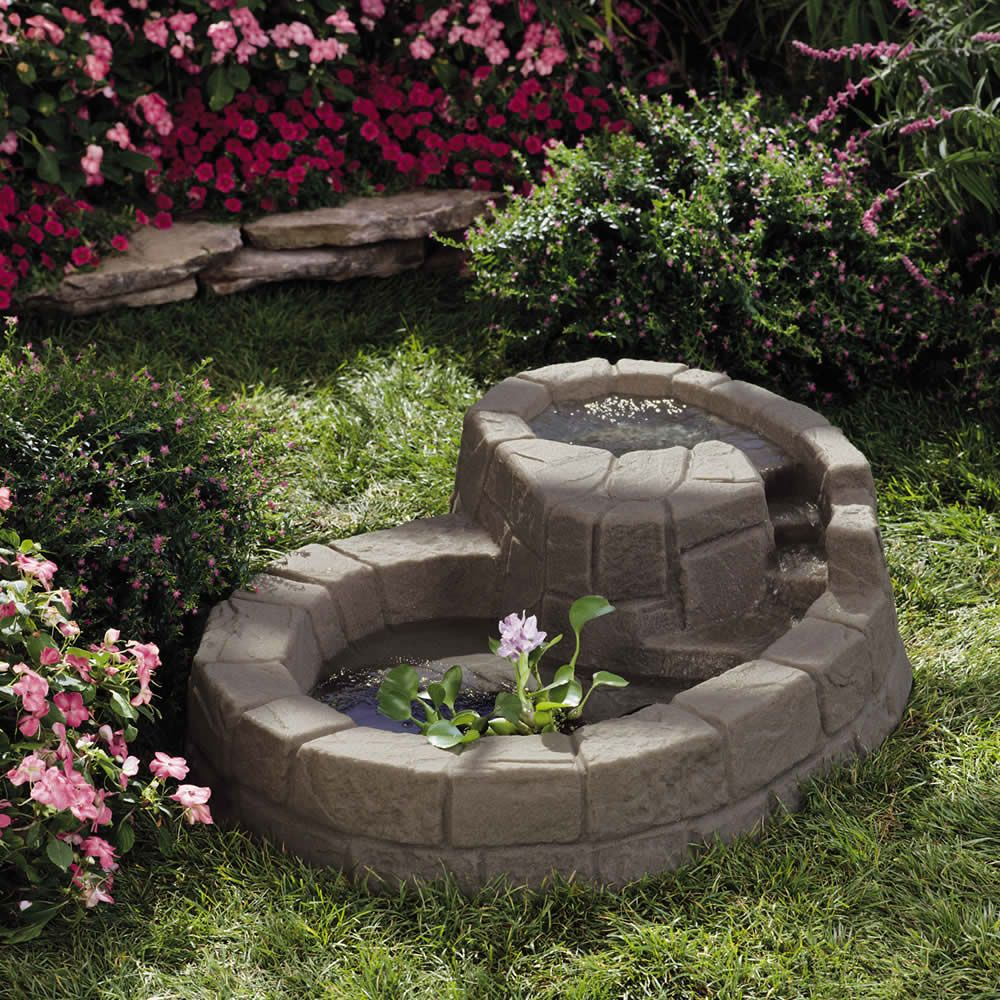 Stone hill tranquility pond small garden ponds for Pond with fountain