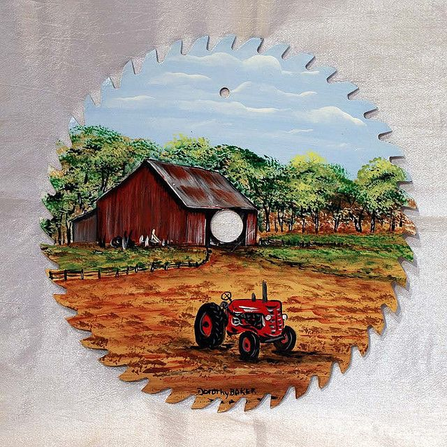 Hand Painted Saw Blade by Dorothy Baker